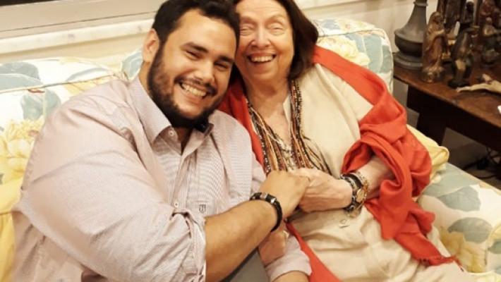 Poeta Diego Mendes Sousa e a romancista Nélida Piñon