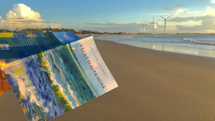 """Capa do livro """"Velas náufragas"""". Registro fotográfico de Jairo Leocádio na Praia da Pedra do Sal, na Parnaíba, no litoral do Piauí"""