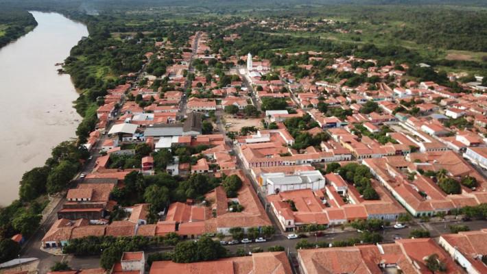 Vista aérea da cidade de Amarante, parcialmente fundada em terras da fazenda Boa Esperança. Créditos; Expedição Sertão Colonial.