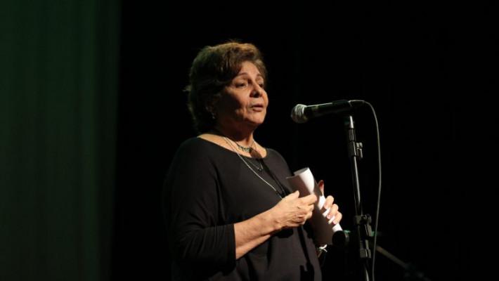 Poetisa Graça Vilhena em registro do Portal Geleia Total